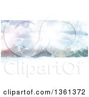 Clipart Of A 3d View Of A Winter Forest With Sunshine Royalty Free Illustration
