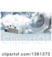 Clipart Of A 3d Log Cabin On Top Of A Snowy Hill With Trees Clouds And Sunshine Royalty Free Illustration