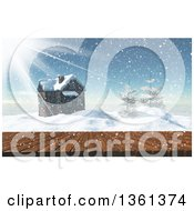 Clipart Of A 3d Deck With A View Of A House And Trees On Top Of A Snow Covered Winter Mountain Royalty Free Illustration