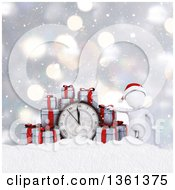 Clipart Of A 3d White Man With Christmas Gifts And A Clock Over Snow And Bokeh Royalty Free Illustration by KJ Pargeter