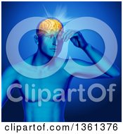 Clipart Of A 3d Xray Anatomical Man With Visible Muscles And Glowing Head Pain With Visible Brain Over Blue Royalty Free Illustration