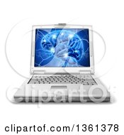 Clipart Of A 3d Human Brain Sparking And Being Struck With Lightning Bolts On A Laptop Computer Screen Over Shaded White Royalty Free Illustration
