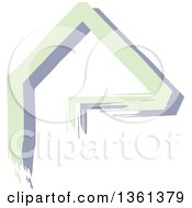 Clipart Of A Home Made Of Green And Purple Painted Lines Royalty Free Vector Illustration by KJ Pargeter
