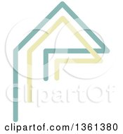 Clipart Of A Home Made Of Green And Yellow Lines Royalty Free Vector Illustration