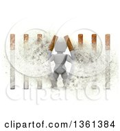 Clipart Of A 3d White Character Busting Through Cigarette Bars With Explosion Effect On A White Background Royalty Free Illustration by KJ Pargeter