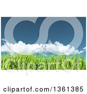 Clipart Of A Background Of 3d Spring Or Summer Blue Sky With Clouds Over Green Grass Royalty Free Illustration