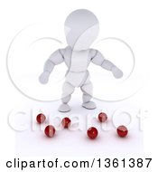 3d White Character Juggler Dropping Balls On A White Background