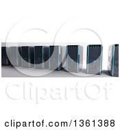 Clipart Of A Row Of 3d Computer Towers On A White Background Royalty Free Illustration