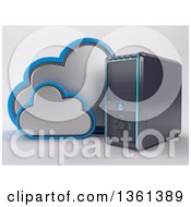 3d Desktop Computer Tower With Clouds On A Shaded Background