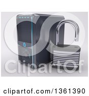 Clipart Of A 3d Desktop Computer Tower With An Open Padlock On A Shaded Background Royalty Free Illustration