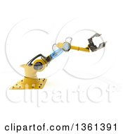 3d Yellow Industrial Robotic Arm On A White Background