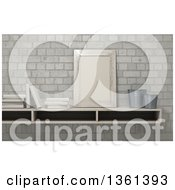 Clipart Of A 3d Shelf With A Frame Pots And Books Against Bricks Royalty Free Illustration