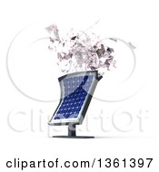 Clipart Of A 3d Solar Panel Spitting Out Cash Money Royalty Free Illustration