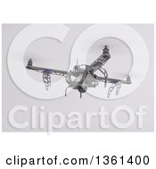 Clipart Of A 3d Metal Quadcopter Drone Flying On A Shaded Background Royalty Free Illustration by KJ Pargeter
