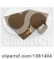 Clipart Of A 3d Brown Professional Briefcase On Shaded White Royalty Free Illustration