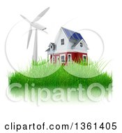 Clipart Of A 3d House With A Windmill Or Turbine On Grass On A White Background Royalty Free Illustration by KJ Pargeter