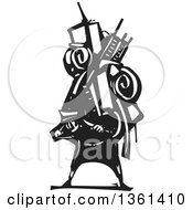 Clipart Of A Black And White Woodcut Man Carrying A Heavy Bundle On His Back Royalty Free Vector Illustration