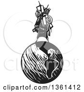 Clipart Of A Black And White Woodcut Man Carrying A Heavy Bundle On His Back On Top Of Planet Earth Royalty Free Vector Illustration