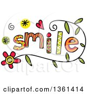 Clipart Of Colorful Sketched Smile Word Art Royalty Free Vector Illustration