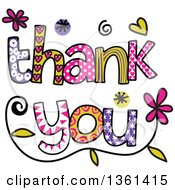 Clipart Of Colorful Sketched Thank You Word Art Royalty Free Vector Illustration