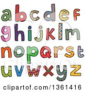 Clipart Of Colorful Sketched Lowercase Alphabet Letter Word Art Royalty Free Vector Illustration