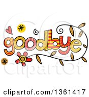 Clipart Of Colorful Sketched Goodbye Word Art Royalty Free Vector Illustration