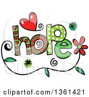 Clipart Of Colorful Sketched Hope Word Art Royalty Free Vector Illustration