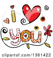 Clipart Of Colorful Sketched I Love You Word Art Royalty Free Vector Illustration by Prawny