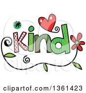 Colorful Sketched Kind Word Art