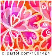 Seamless Background Pattern Of Painted Hearts