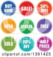 Clipart Of Colorful Round Grungy Retail Sale Icon Signs Royalty Free Vector Illustration