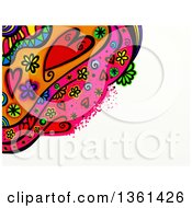 Heart And Flower Doodle Border With White Text Space