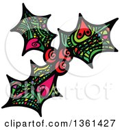 Colorful Patterned Folk Art Christmas Holly And Berry