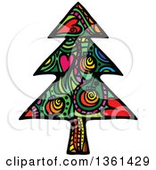 Clipart Of A Colorful Patterned Folk Art Christmas Tree Royalty Free Vector Illustration