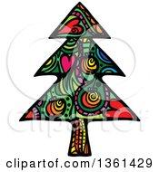 Colorful Patterned Folk Art Christmas Tree