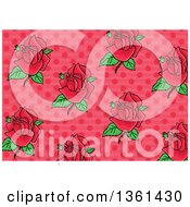 Clipart Of A Background Pattern Of Pink Roses Over Polka Dots Royalty Free Vector Illustration