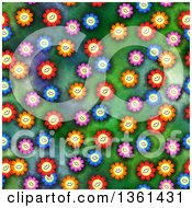 Clipart Of A Seamless Background Pattern Of Happy Colorful Daisy Flowers On Green Royalty Free Illustration