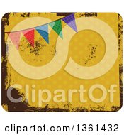 Clipart Of A Grungy Yellow Polka Dot Design With A Colroful Party Bunting Flag Royalty Free Vector Illustration by Prawny