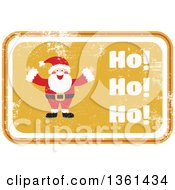 Rubber Stamp Styled Yellow Santa Claus Sign With Ho Ho Ho Text