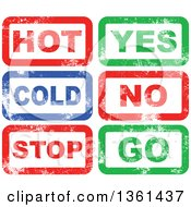 Clipart Of Rubber Stamp Styled Opposites Hot Cold Yes No Stop Go Designs Royalty Free Vector Illustration by Prawny