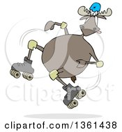 Clipart Of A Cartoon Moose Falling While Roller Skating Royalty Free Illustration