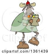 Cartoon Winter Moose Carrying Groceries