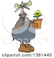 Cartoon Moose Gardener Holding A Potted Flower