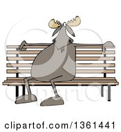 Clipart Of A Cartoon Moose Sitting On A Park Bench Royalty Free Illustration