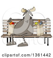 Clipart Of A Cartoon Moose Sitting On A Park Bench With Grocery Bags Royalty Free Illustration