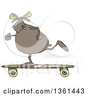 Clipart Of A Cartoon Moose Skateboarding Royalty Free Illustration
