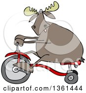 Clipart Of A Cartoon Moose Riding A Tricycle Royalty Free Vector Illustration