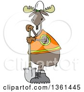 Cartoon Moose Contractor Holding A Shovel And Wearing A Safety Vest