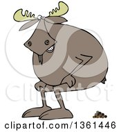 Clipart Of A Cartoon Moose Squatting And Pooping Royalty Free Vector Illustration by Dennis Cox