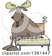 Clipart Of A Cartoon Tired Moose Sitting On A Bed Royalty Free Vector Illustration